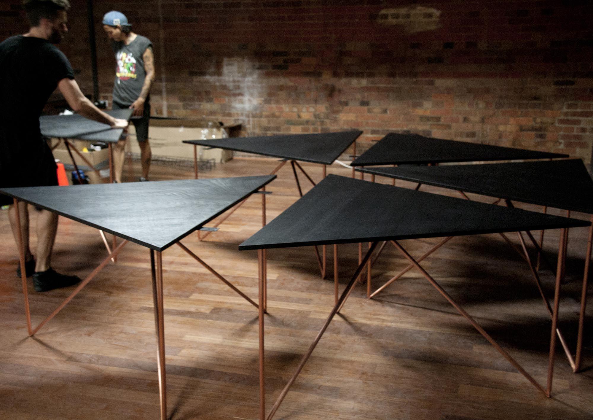 Conference Table Copper Legs Vincent Buret - Hexagon conference table