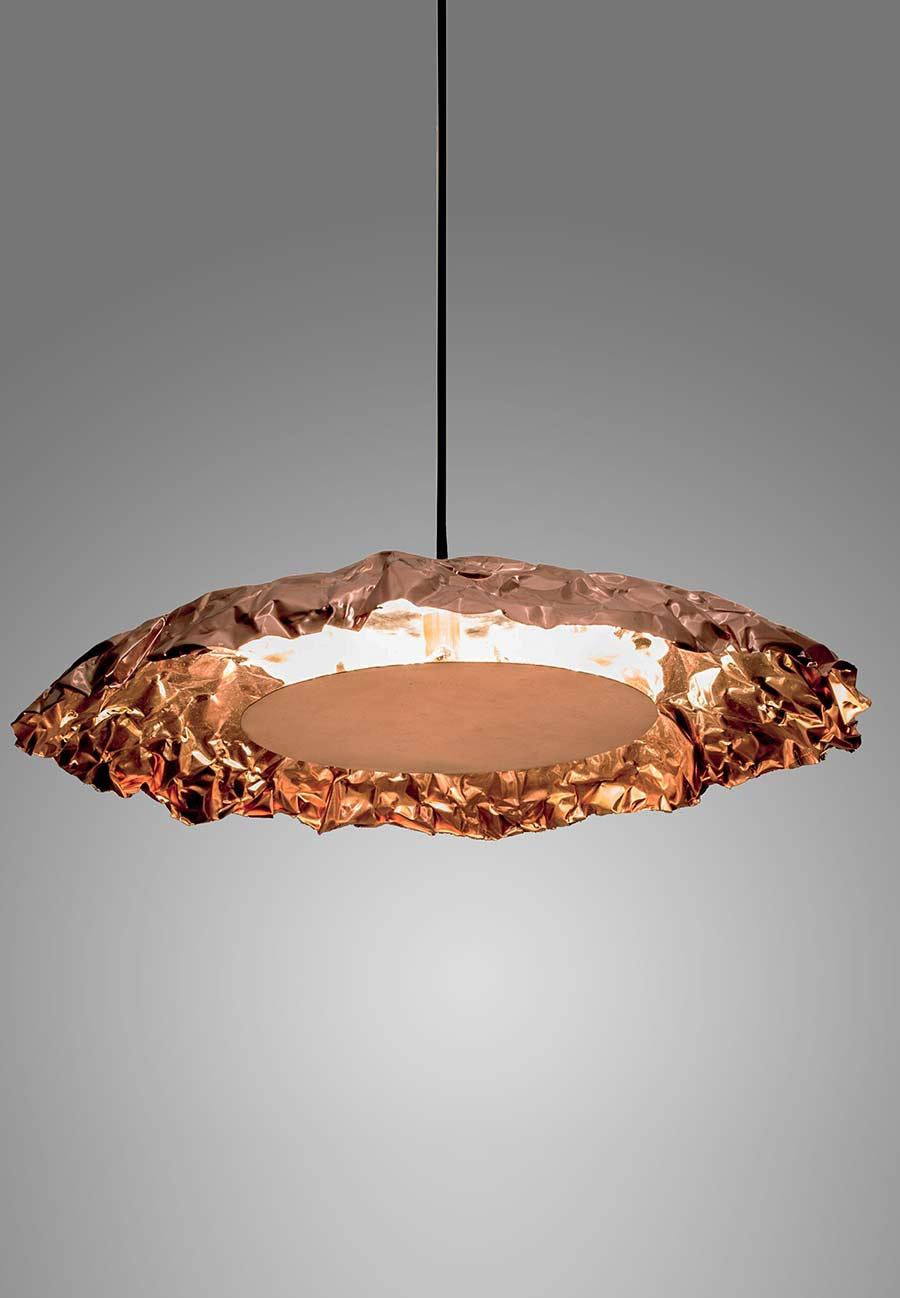 Creased a copper pendant lamp vincent buret creased a horizontal copper pendant lamp aloadofball Choice Image